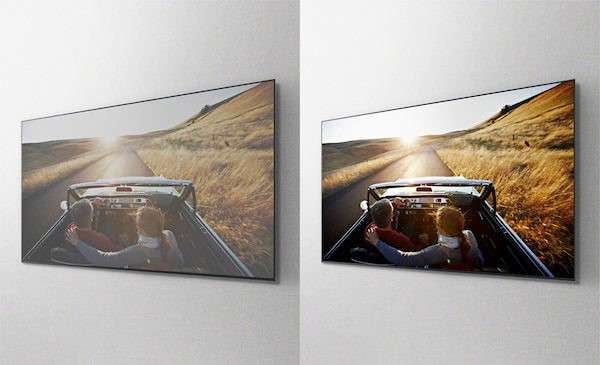 Overhead images of a car driving on a road on separate TV screens showing the benefit of the X-Wide Angle panel.