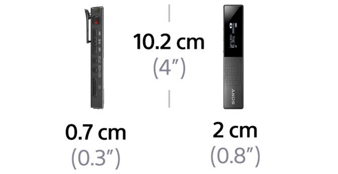 Dimensions of TX650 Digital Voice Recorder TX Series