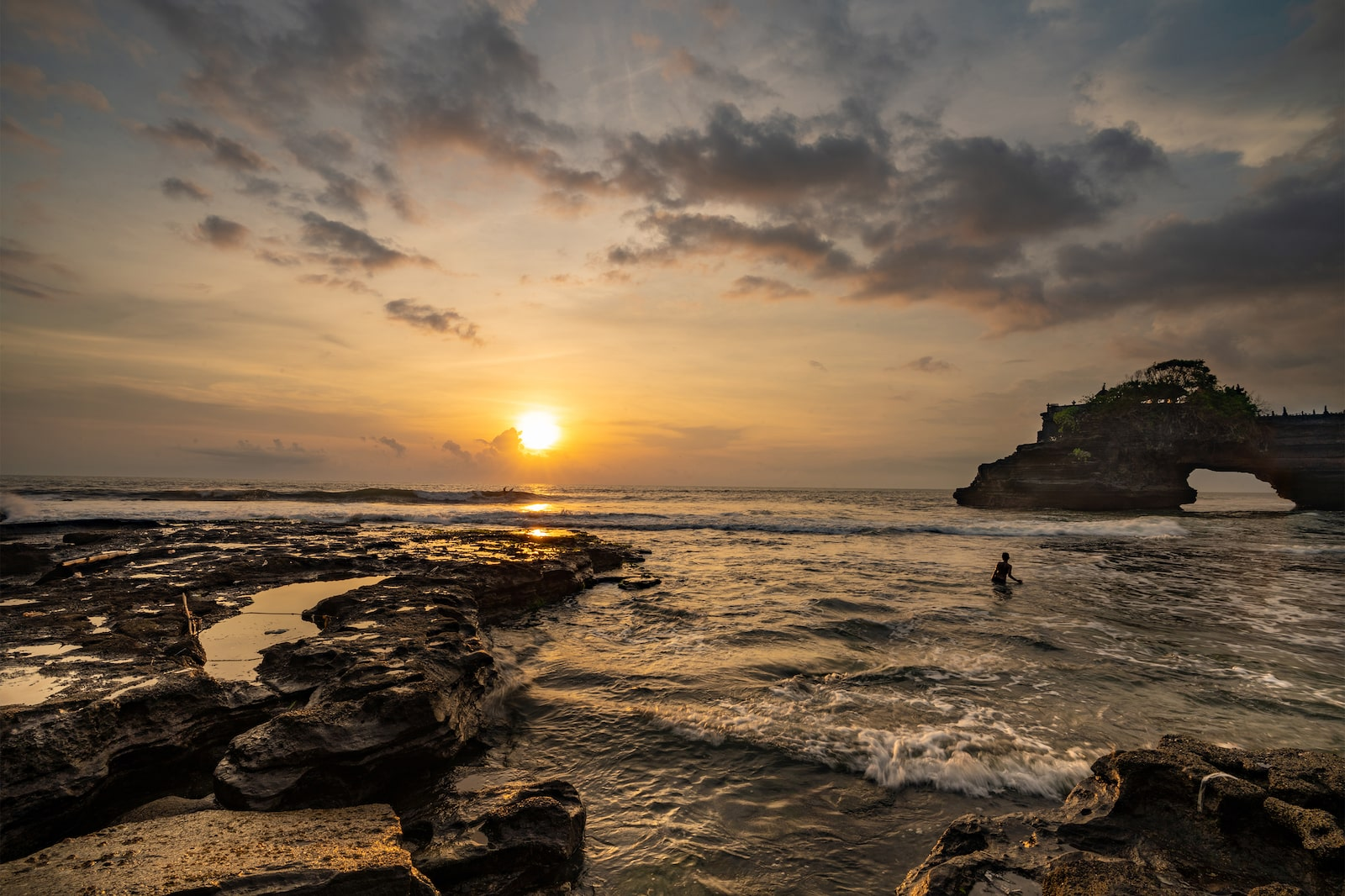 Sunset at sea Tanah Lot Temple