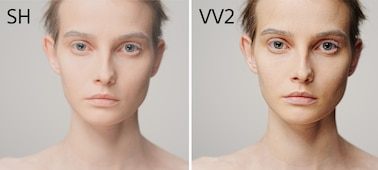 Two images of model with different color profiles