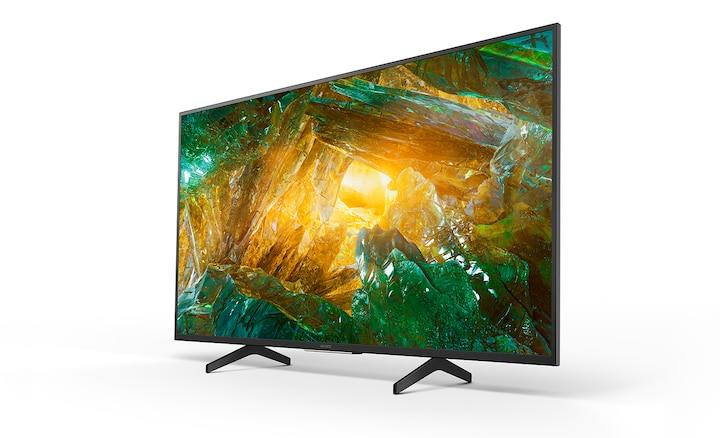 Side shot of TV showing aluminium design