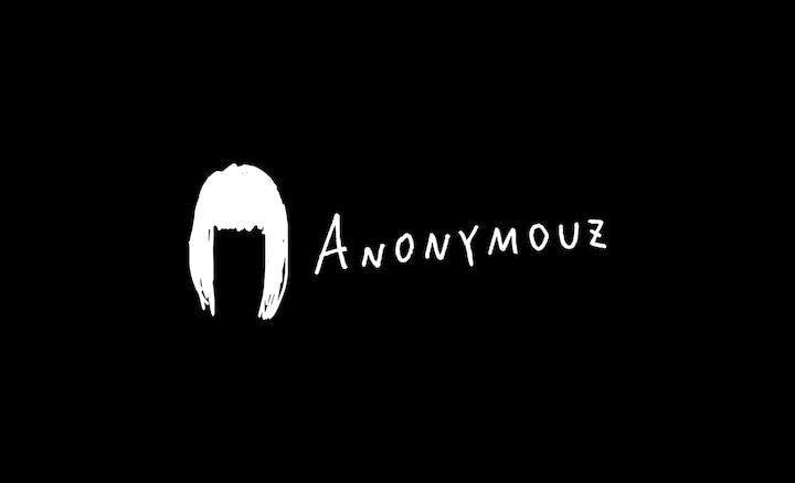 Anonymouz text with outline of a woman's hair on a black background
