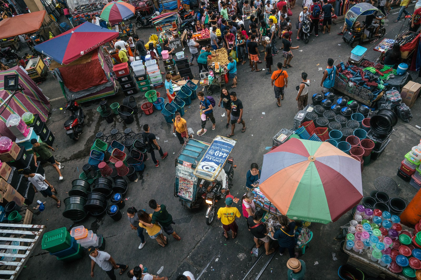Aerial view of crowd in Divisoria Market