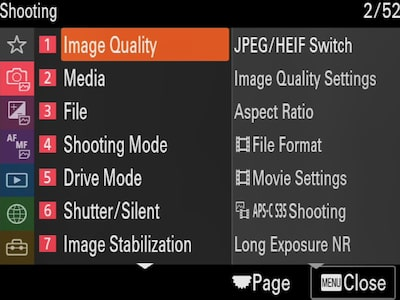 """Shooting"" menu with cursor on ""Image Quality"""