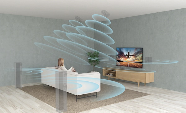 Living room scene showing surround sound effect with XR Surround