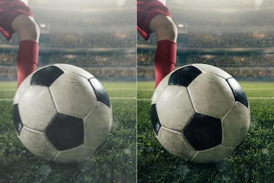 Two images comparing picture quality of football on pitch in front of player's foot