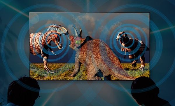 Image of dinosaurs showing how Acoustic Surface Audio technology plays sound from the right place in the scene