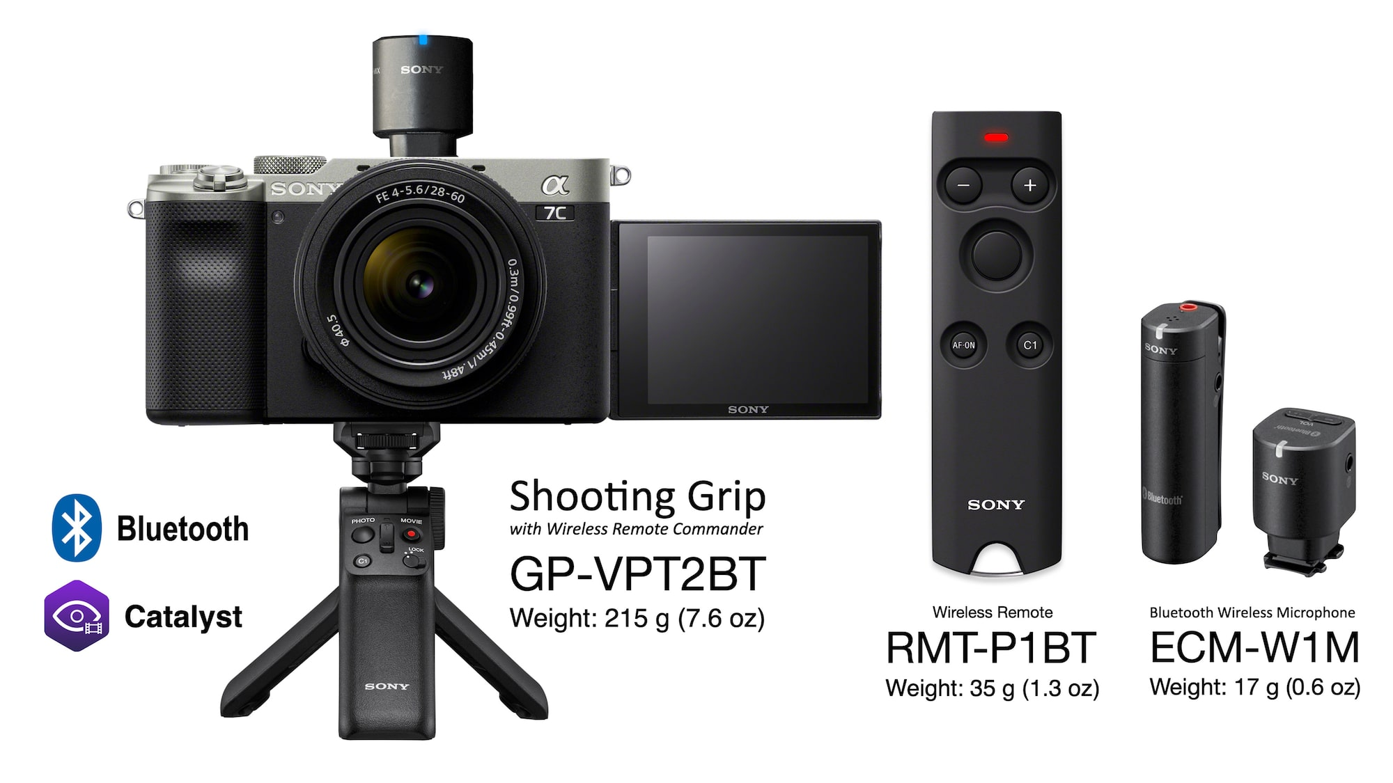 Alpha 7C, GP-VPT2BT shooting grip, RMT-P1BT wireless remote and ECM-W1M bluetooth wireless microphone